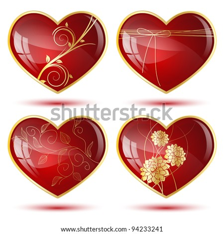 Set of four shiny hearts with golden decorations - stock vector