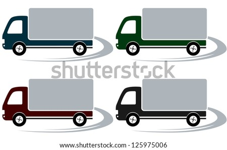 set of four shipping trucks on the road with decorative element - stock vector