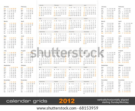set of four simple calendar grids for 2012 - vertically/horizontally aligned, starting Sunday and Monday - stock vector