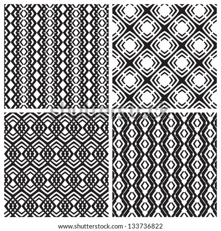 Set of four simple geometric patterns in vector - stock vector