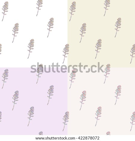 Set of four simple seamless mosaic patterns with leaves in Scandinavian style. Mosaic leaves in soft cream pastel colors. - stock vector