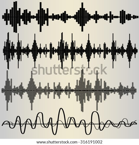 Set of four sound waves, audio equalize, pulse musical, vector - stock vector