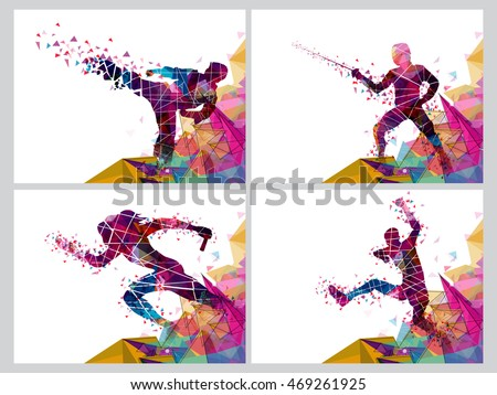 Set Four Sports Poster Banner Flyer Stock Vector 469261925