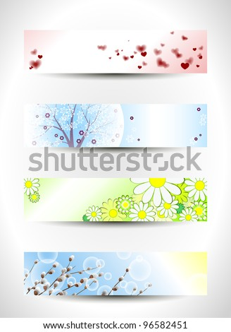 Set of four spring headers - stock vector