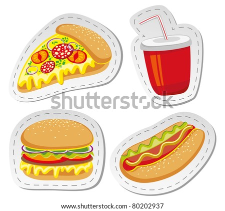 set of four stickers with fast food