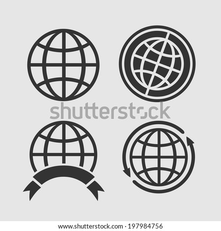 Set of four symbols globes for decoration