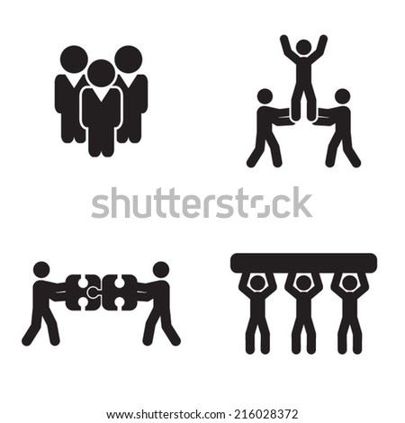 Set of four teamwork icons - stock vector