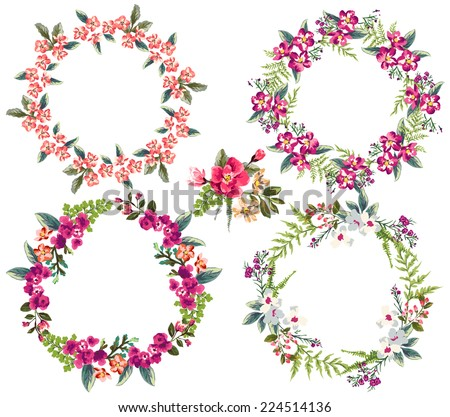 set of four tiny  flower wreaths - stock vector
