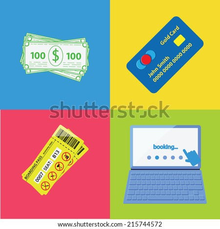 Set of four tourism and travel planing icons: cash money, credit card, notebook with booking web site and boarding pass. - stock vector