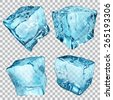 Set of four transparent ice cubes in light blue colors - stock photo