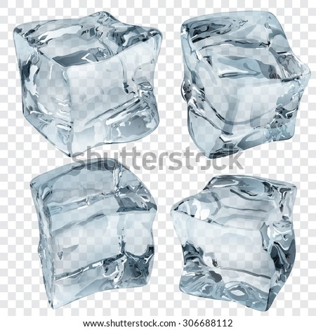 Set of four transparent ice cubes in light blue colors - stock vector