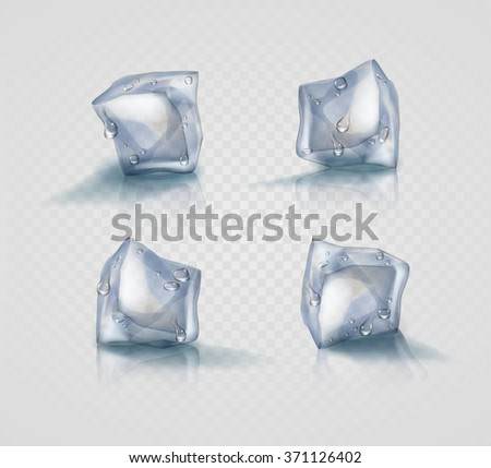 Set of four transparent ice cubes in light blue colors with drops - stock vector