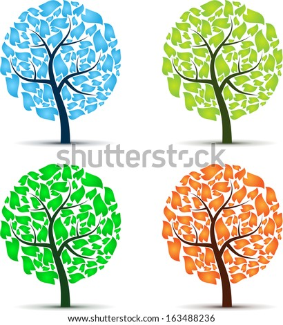 Set of four trees season colors. eps10 - stock vector