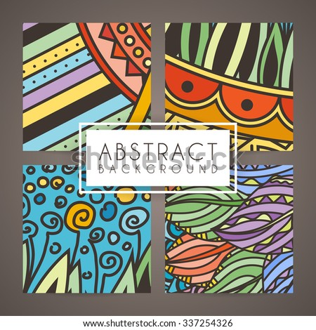 Set of four vector colorful intricate patterns. Doodle. Zentangle