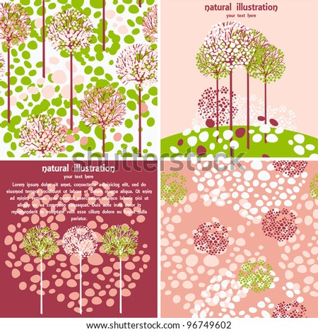 set of four vector cute illustration and patterns for spring time in pink colors - stock vector