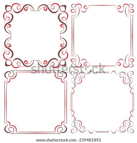 Set of four vector elegant two-color multilayer frames for design - stock vector