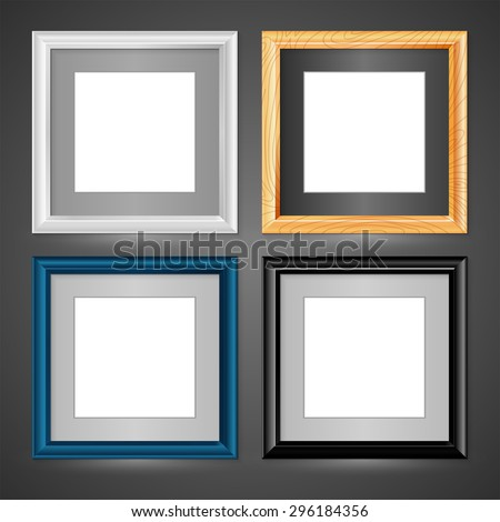 Set of four vector frames on a grey background. Square frames for design portfolio and paintings. Set creative framework. - stock vector