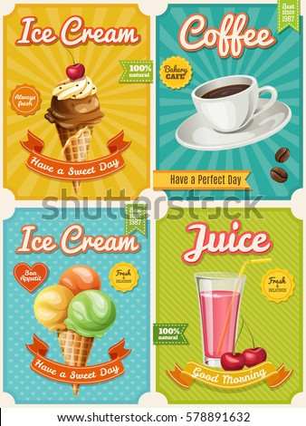 Set of four vector high detailed food posters. Ice Cream, Juice, Cupcake, Coffee.Cool typography elements. Useful for cafe or bistro or restaurant advertisement.