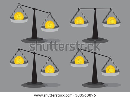 Set of four vector illustrations of gold coins on old fashion balancing beam weighing scales isolated on grey background for foreign exchange rate concept. - stock vector