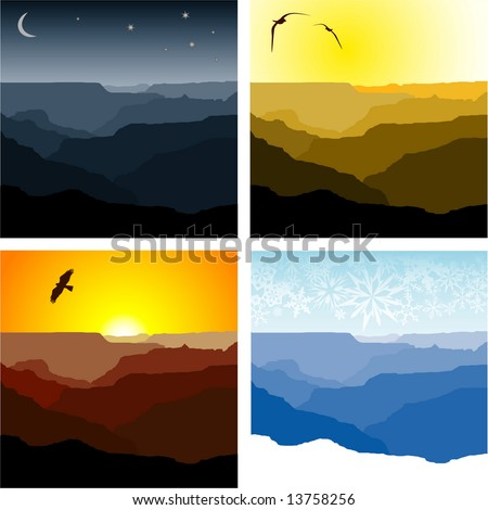 Set of four vector illustrations of the Grand Canyon representing winter, sunset, sunrise and night time. - stock vector