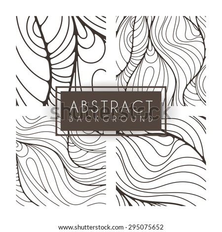 Set of four vector monochrome intricate patterns. Doodle. Zentangle. Monochromatic - stock vector