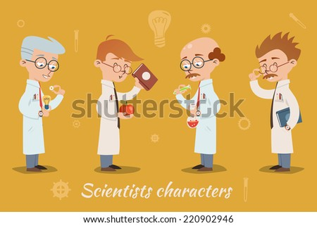 Set of four vector scientist characters wearing glasses and lab coats and holding books  lab glassware or equipment spanning different ages  all men - stock vector