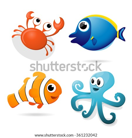 Set of four vector sea animals - crab, bodlok, clownfish and octopus.