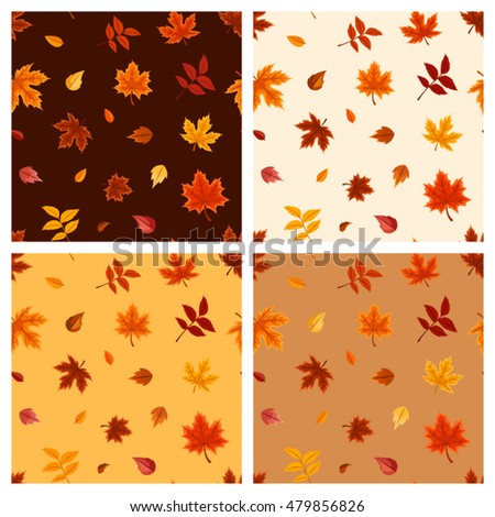 Set of four vector seamless patterns with autumn leaves on brown, orange and beige backgrounds.