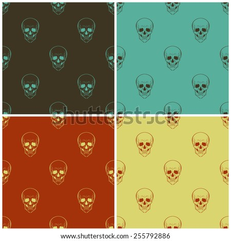 Set of four vector seamless patterns with skulls  - stock vector