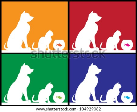 Set of four vectors showing a dog, a cat and a fish in silhouette. - stock vector