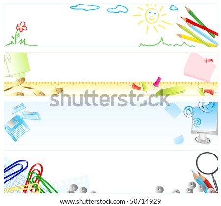 Set of four vertical school web banners with different stationery and copyspace for your text