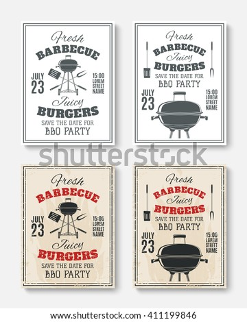 Set of four vintage barbecue party poster templates. Barbecue party brochures. Barbecue party invitation flyers.  Vector illustration. - stock vector
