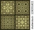 Set of four vintage damask wallpapers - stock photo