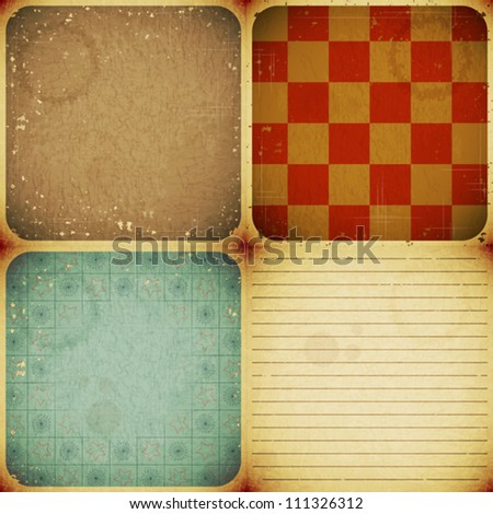 set of four vintage paper backgrounds - vector illustration - stock vector