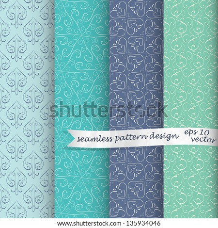 set of four vintage seamless patterns - stock vector