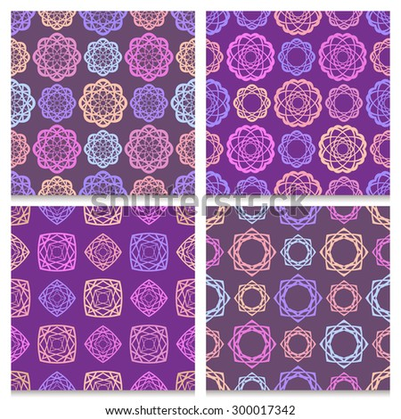 Set of four vintage seamless patterns. Bright round and rhombus elegant ornamental geometric repeated pink, blue, orange and purple elements on dark violet and muted brown background.  - stock vector