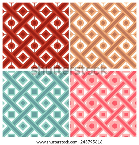 Set of four weave with circle and square  patterns in indian style - stock vector