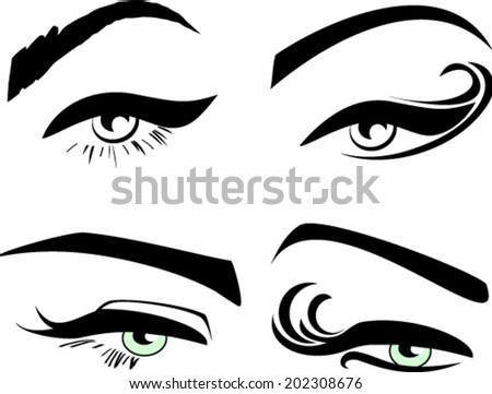 Set of four woman eye shape eyebrows silhouettes with long eyelashes  - stock vector
