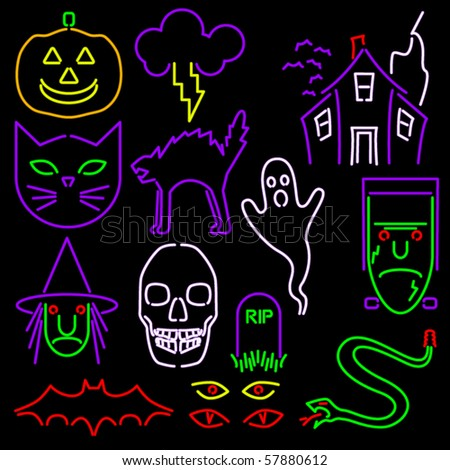 Set of fourteen Halloween icons in neon style - stock vector