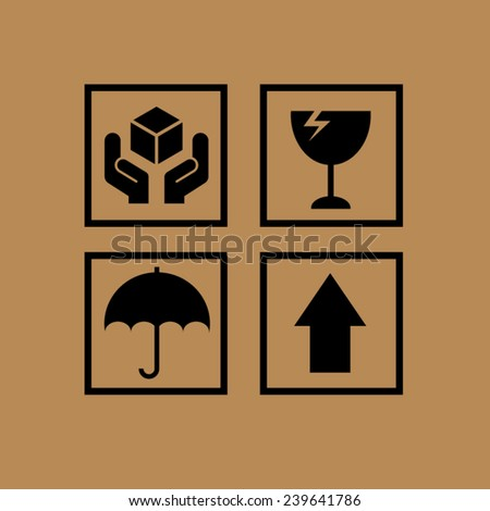 Set of fragile symbols  - stock vector