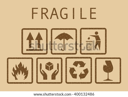 Set of fragile symbols, illustaration - stock vector