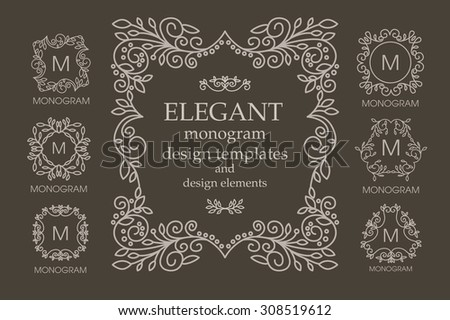 Set of frames and monogram designs with copy space for text in trendy mono line style. Business sign, identity for Restaurant, Royalty, Hotel, Heraldic, Jewelry, Fashion and other vector illustration - stock vector