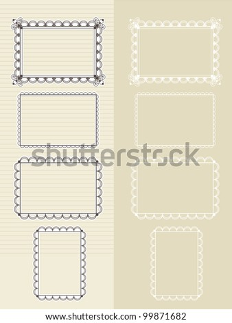 set of frames for photos and pictures - stock vector