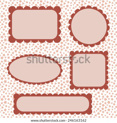 Set of frames on holiday background - stock vector
