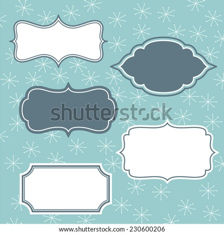 Set of frames on winter background - stock vector