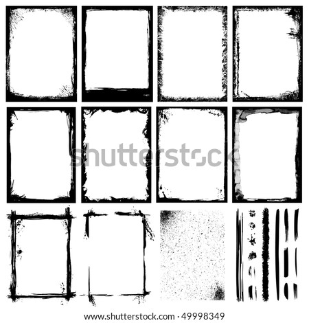 Set of Frames, Textures, Lines & Brushes. - stock vector