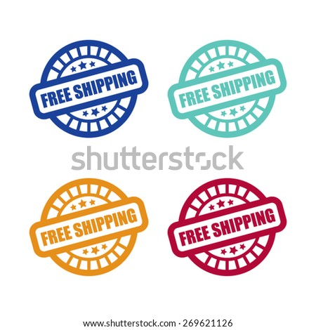 Set of Free Shipping Stamp Labels - stock vector
