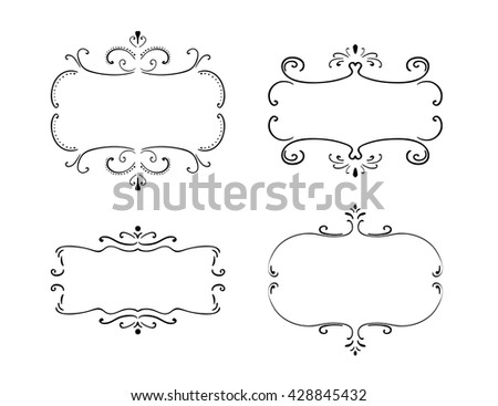 Set of freehand vintage frames. Vector illustration isolated on white. Hand drawn floral borders. Retro design elements - stock vector