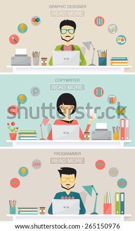 set of freelance job, graphic designer, copywriter, programmer, banners for websites flat design style - stock vector