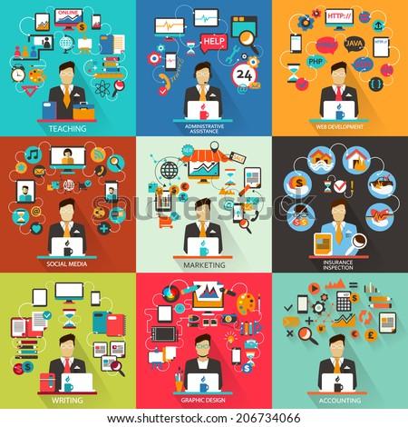 Set of freelance jobs. - stock vector